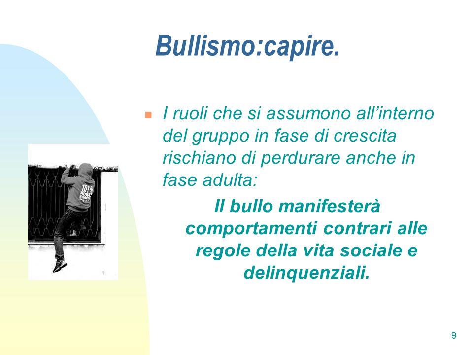 Bullismo:capire. I ruoli che si assumono all'interno del gruppo in fase di crescita rischiano di perdurare anche in fase adulta: