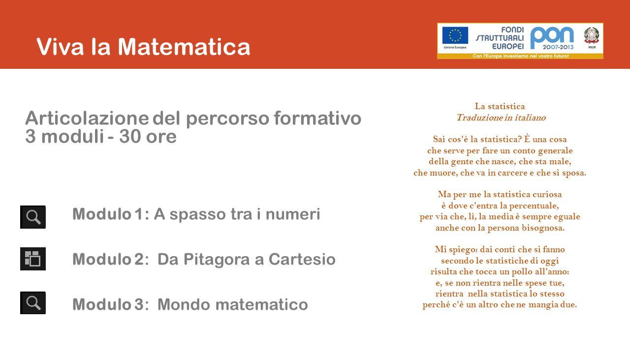 Viva la Matematica Articolazione del percorso formativo
