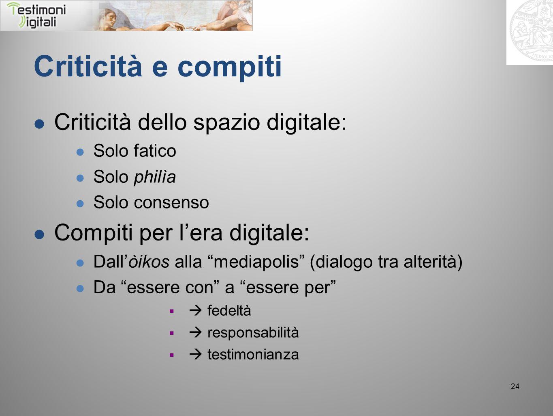 Criticità e compiti Criticità dello spazio digitale: