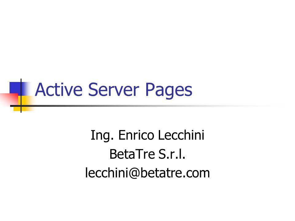 Ing. Enrico Lecchini BetaTre S.r.l. lecchini@betatre.com