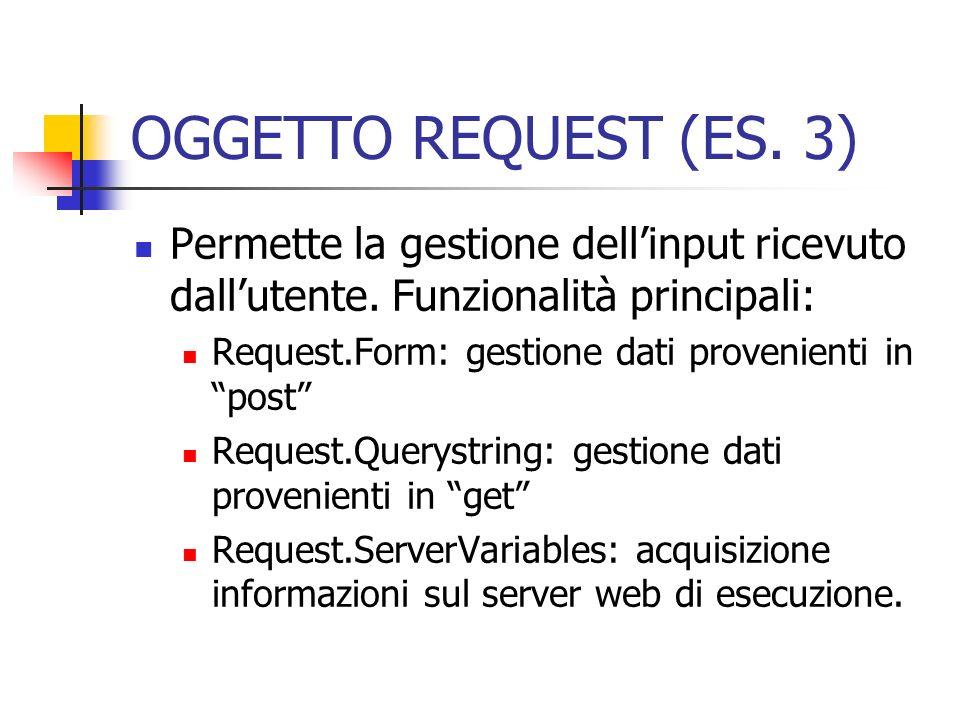 OGGETTO REQUEST (ES. 3) Permette la gestione dell'input ricevuto dall'utente. Funzionalità principali: