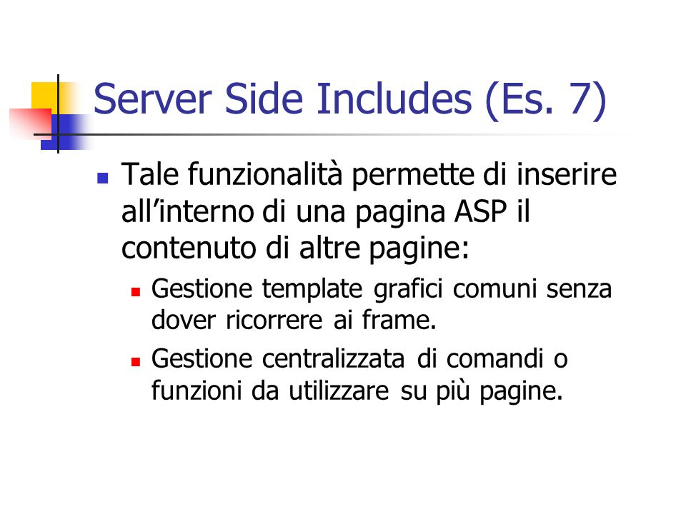 Server Side Includes (Es. 7)