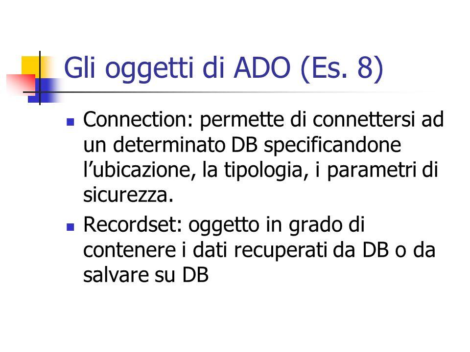 Gli oggetti di ADO (Es. 8)
