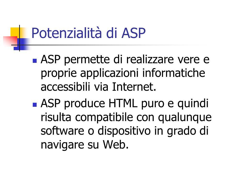 Potenzialità di ASP ASP permette di realizzare vere e proprie applicazioni informatiche accessibili via Internet.