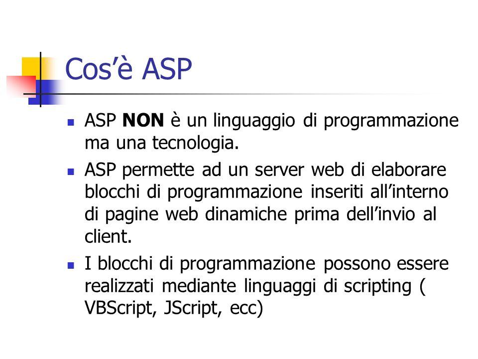 Cos'è ASP ASP NON è un linguaggio di programmazione ma una tecnologia.