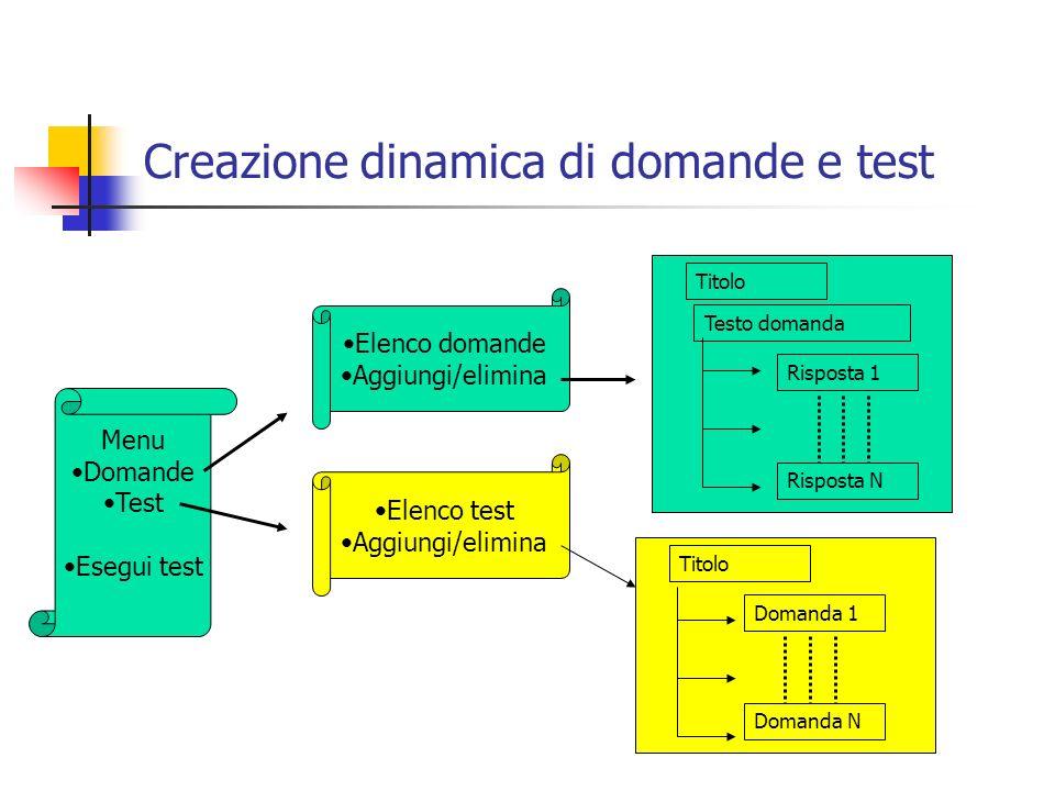 Creazione dinamica di domande e test