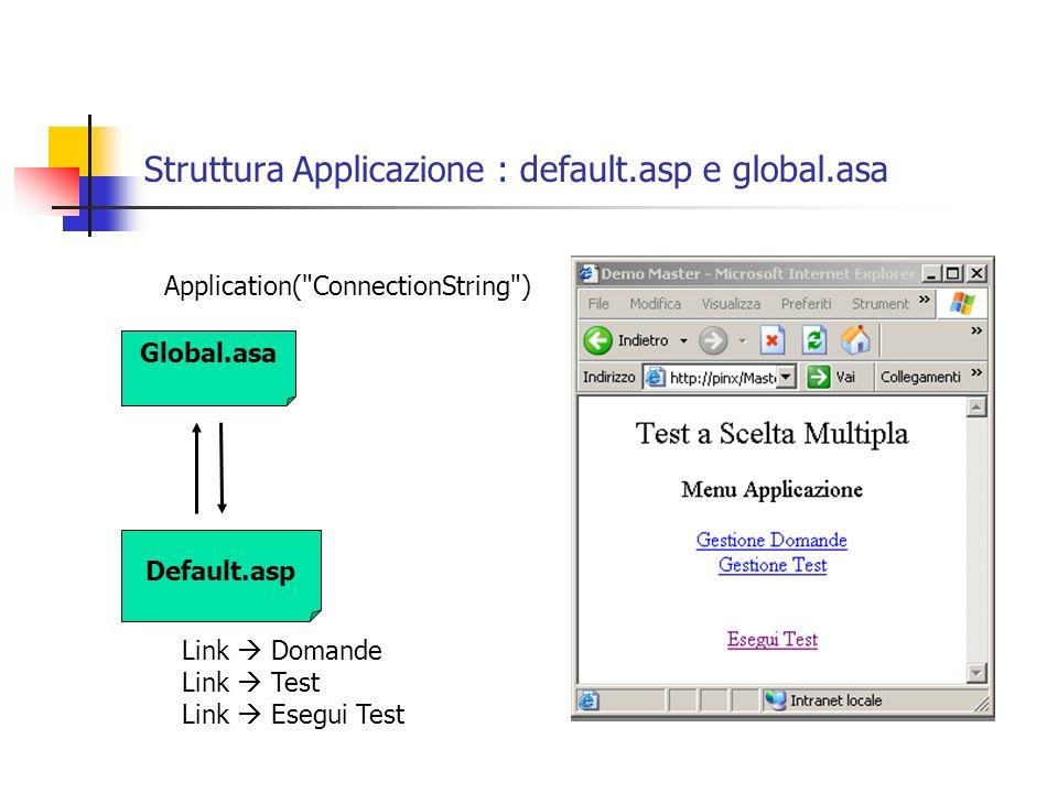 Struttura Applicazione : default.asp e global.asa