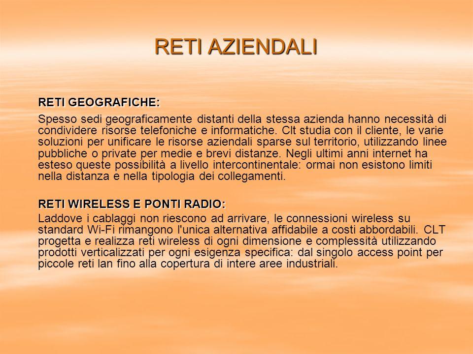 RETI GEOGRAFICHE: RETI AZIENDALI