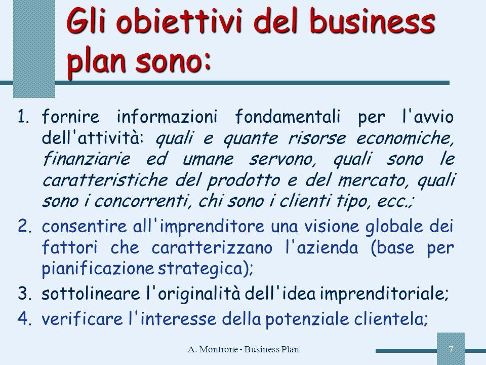 Gli obiettivi del business plan sono: