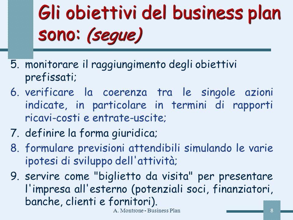 Gli obiettivi del business plan sono: (segue)
