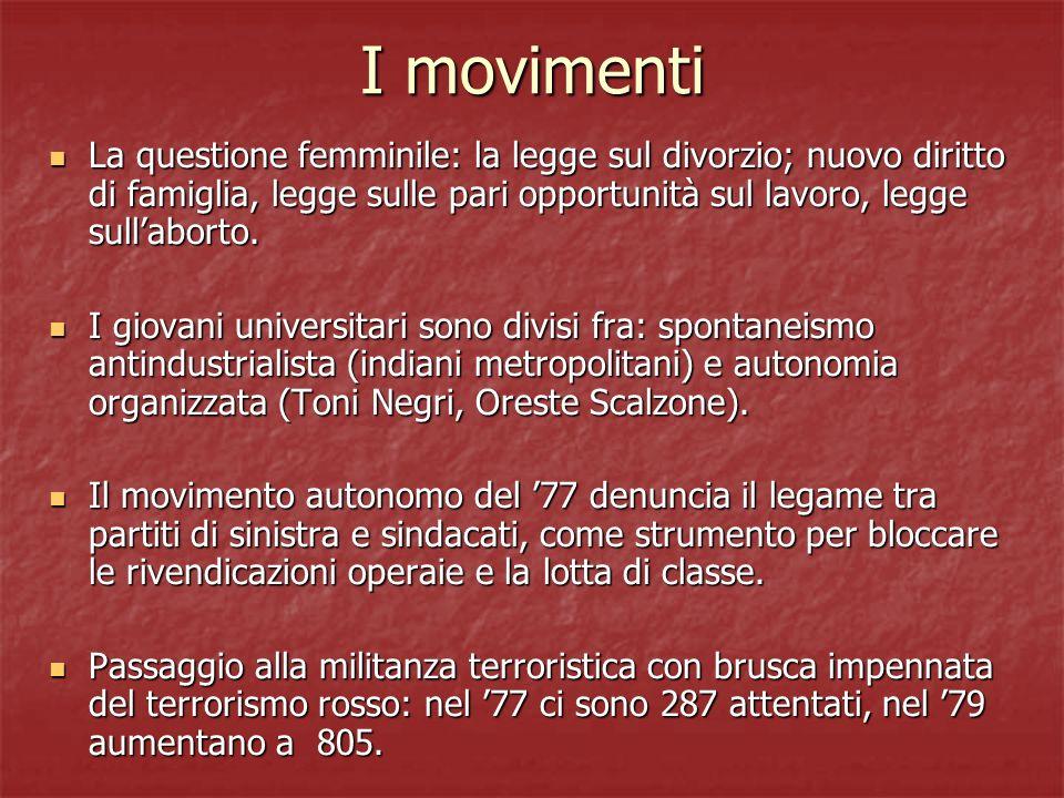 I movimenti La questione femminile: la legge sul divorzio; nuovo diritto di famiglia, legge sulle pari opportunità sul lavoro, legge sull'aborto.