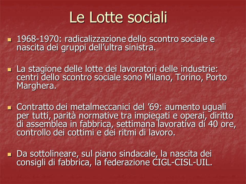 Le Lotte sociali 1968-1970: radicalizzazione dello scontro sociale e nascita dei gruppi dell'ultra sinistra.