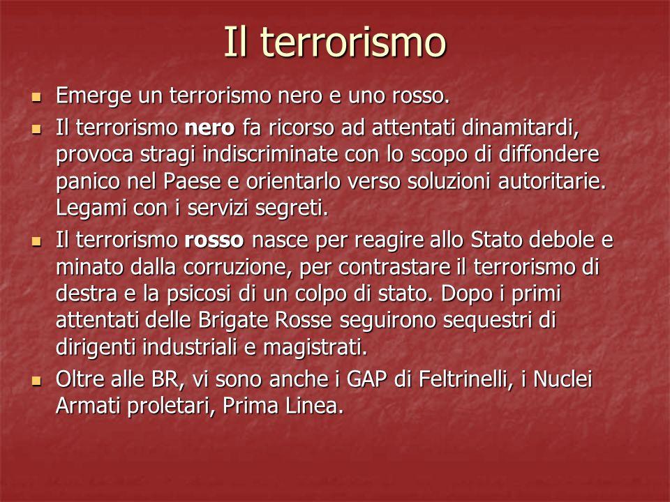 Il terrorismo Emerge un terrorismo nero e uno rosso.
