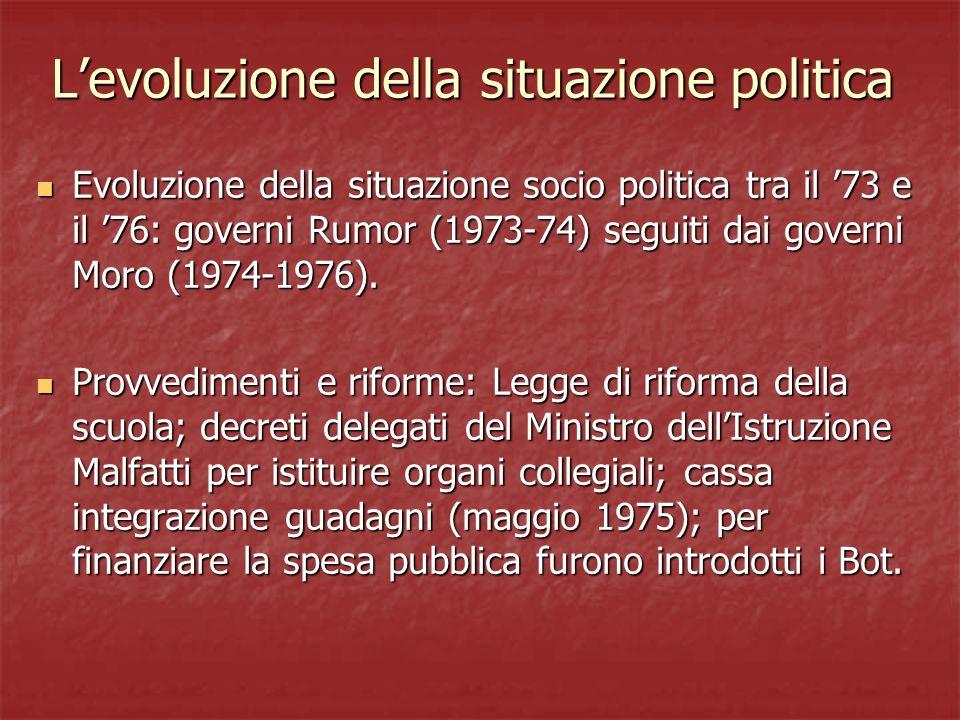 L'evoluzione della situazione politica