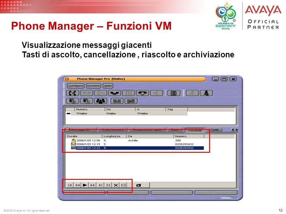 Phone Manager – Funzioni VM