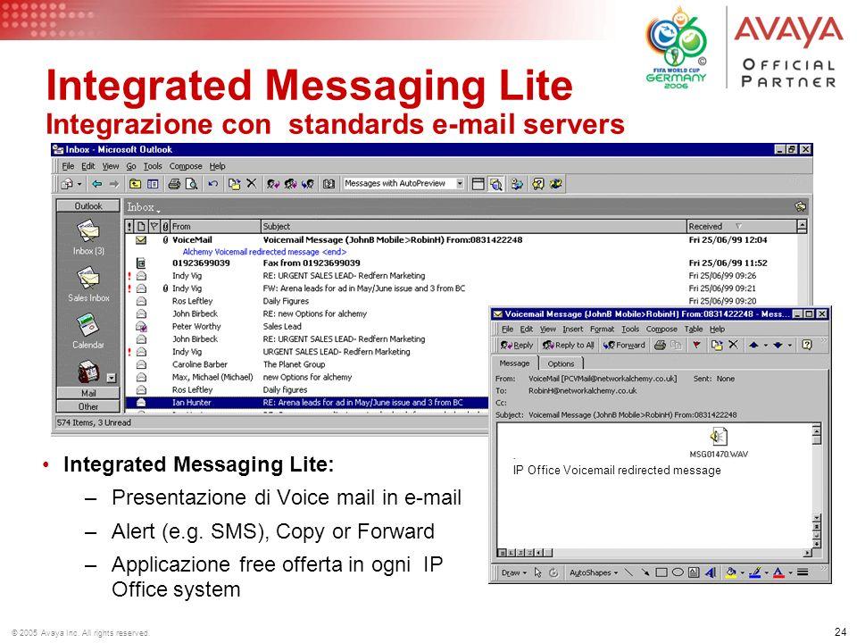 Integrated Messaging Lite Integrazione con standards e-mail servers