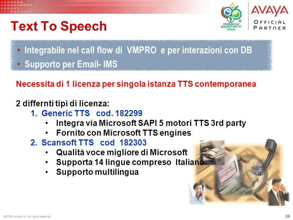 Text To Speech Integrabile nel call flow di VMPRO e per interazioni con DB. Supporto per  - IMS.