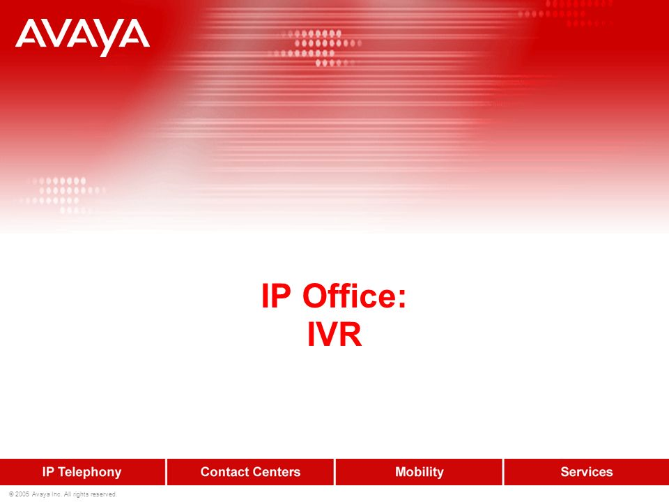 IP Office: IVR