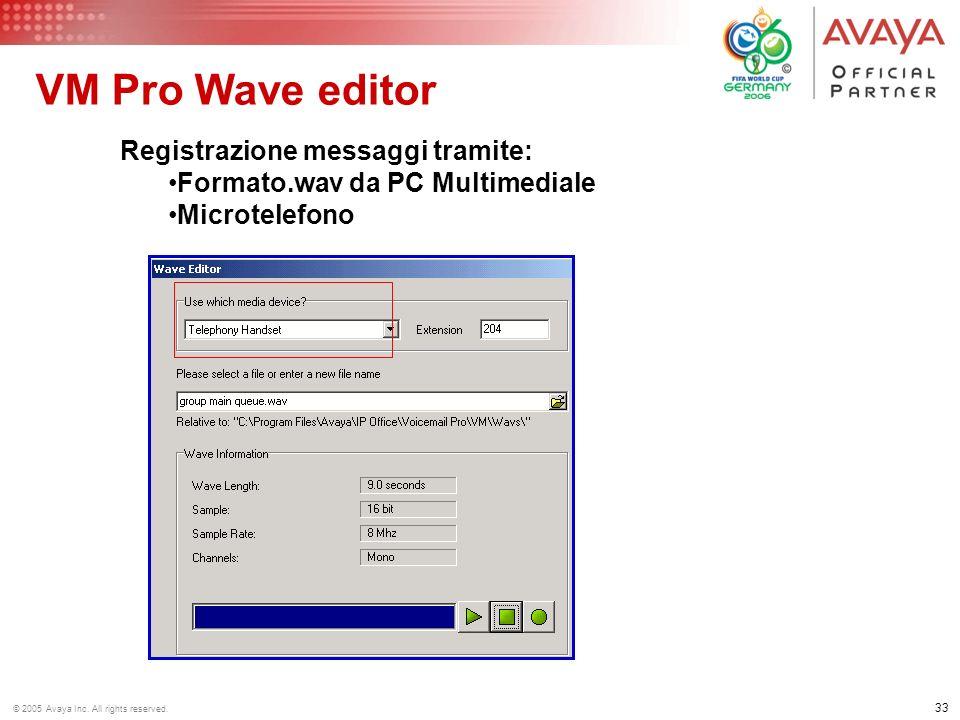 VM Pro Wave editor Registrazione messaggi tramite: