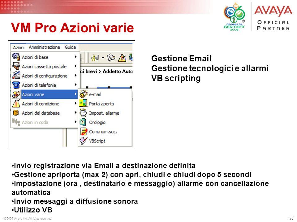 VM Pro Azioni varie Gestione Email Gestione tecnologici e allarmi