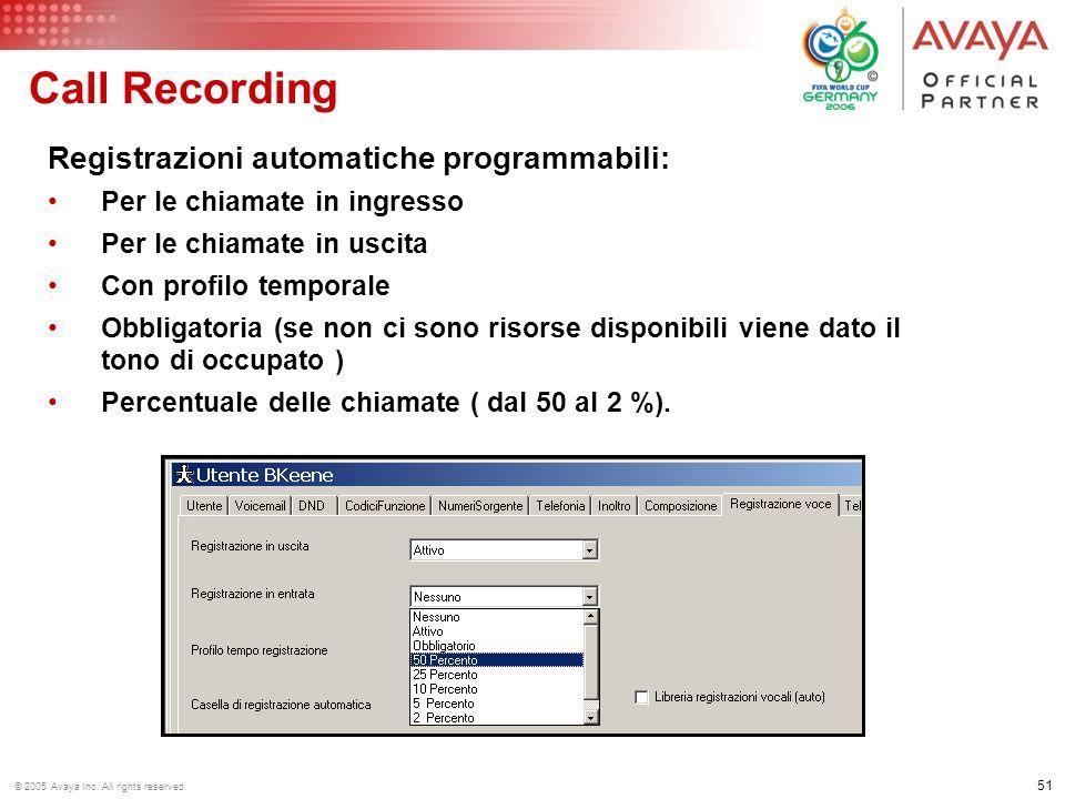 Call Recording Registrazioni automatiche programmabili: