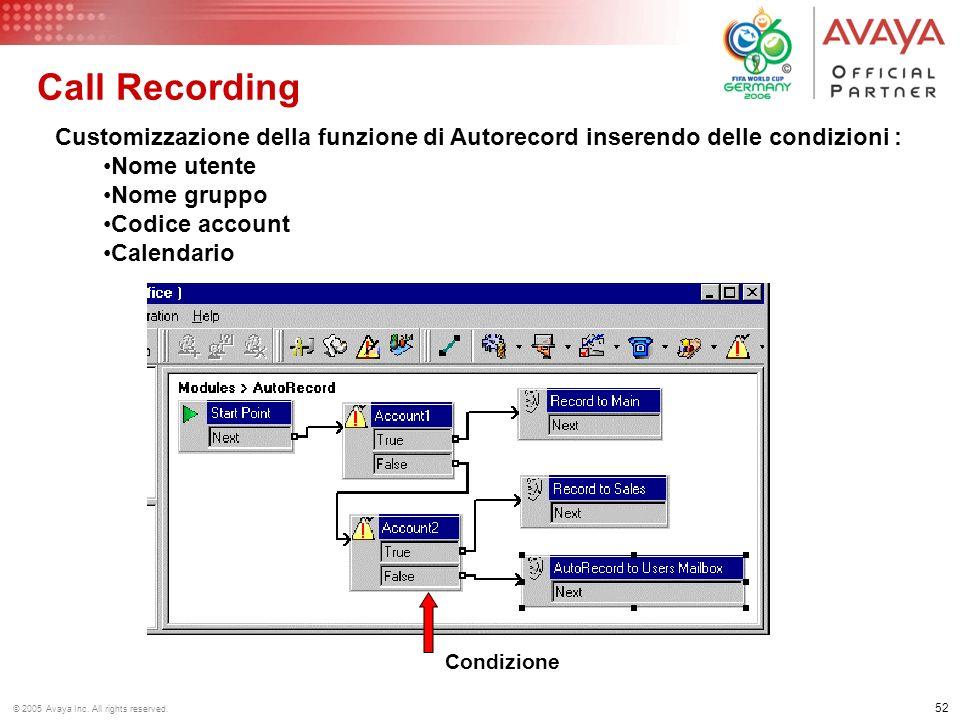 Call Recording Customizzazione della funzione di Autorecord inserendo delle condizioni : Nome utente.