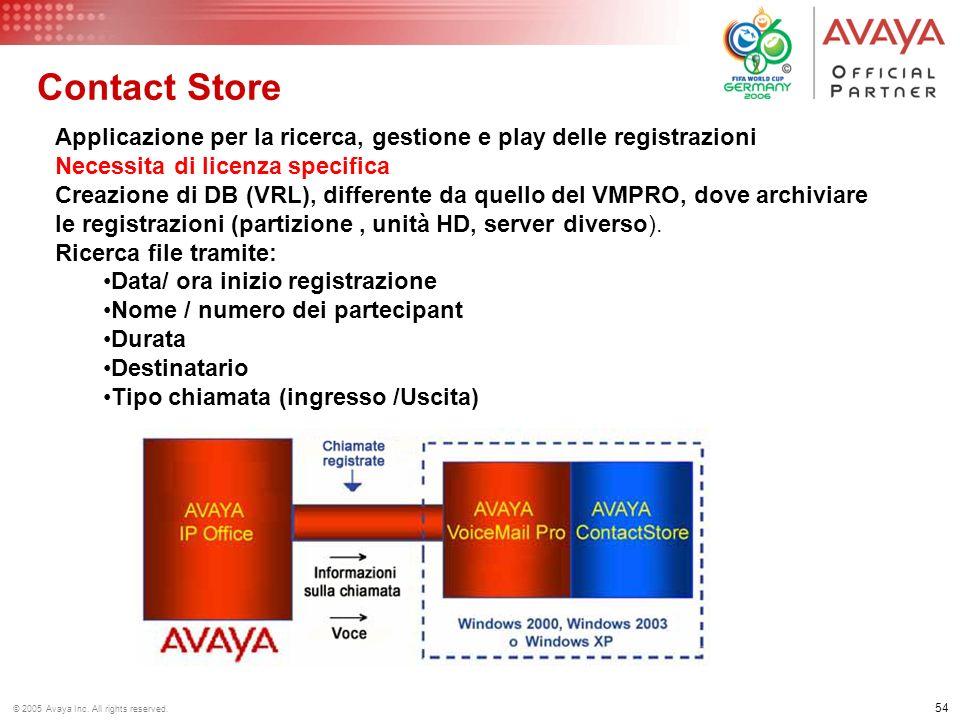 Contact Store Applicazione per la ricerca, gestione e play delle registrazioni. Necessita di licenza specifica.