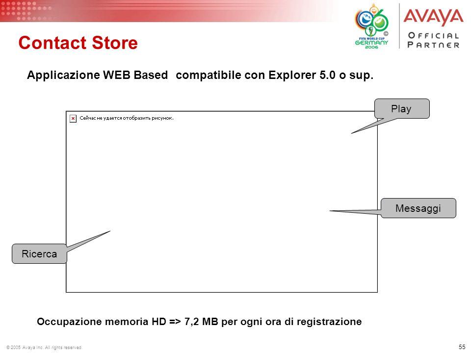 Contact Store Applicazione WEB Based compatibile con Explorer 5.0 o sup. Play. Messaggi. Ricerca.