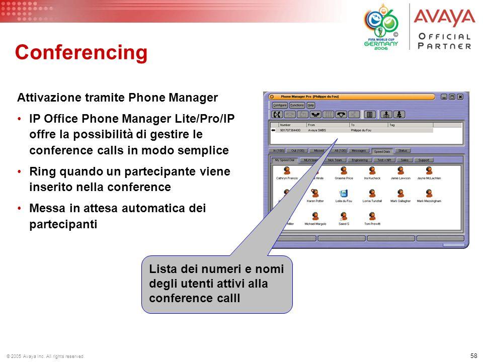 Conferencing Attivazione tramite Phone Manager