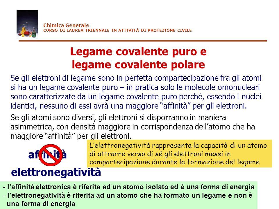 Legame covalente puro e legame covalente polare