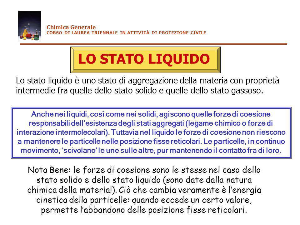 Chimica Generale CORSO DI LAUREA TRIENNALE IN ATTIVITÀ DI PROTEZIONE CIVILE. LO STATO LIQUIDO.