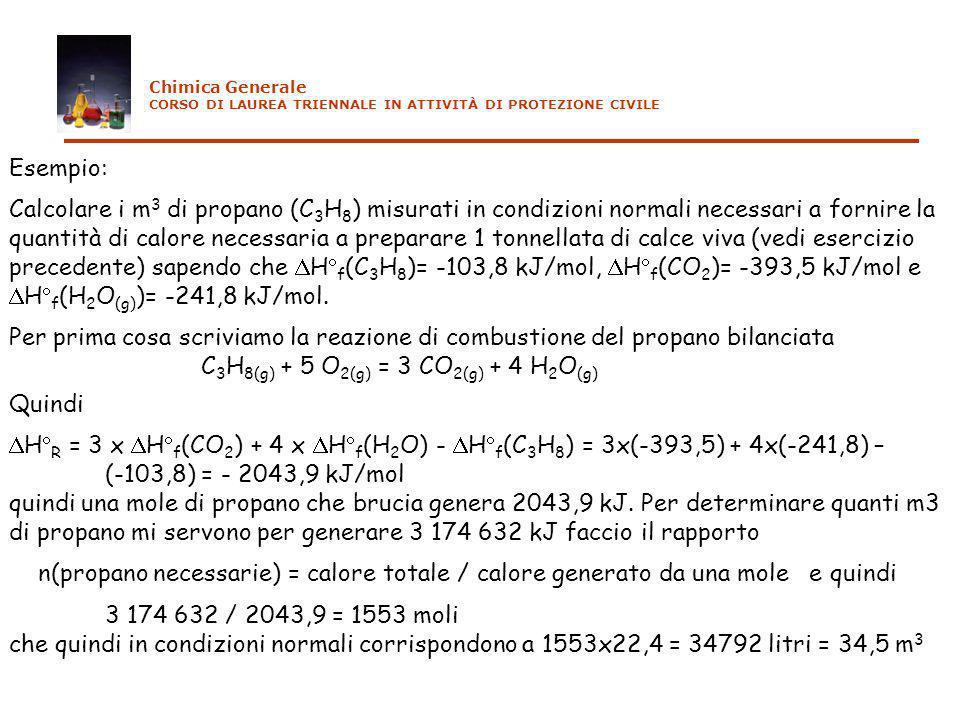 C3H8(g) + 5 O2(g) = 3 CO2(g) + 4 H2O(g) Quindi