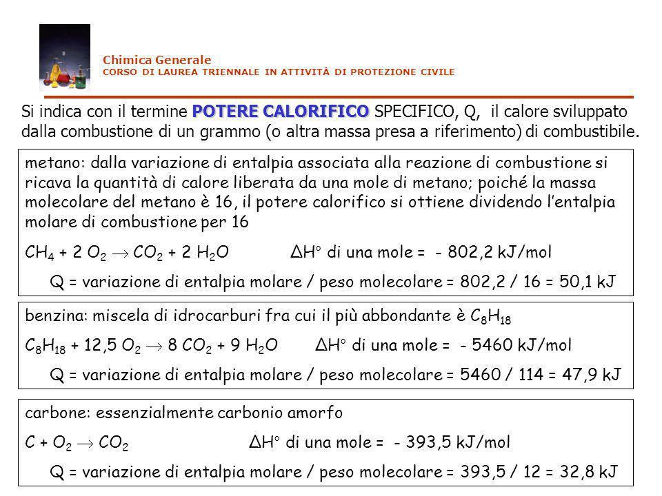 CH4 + 2 O2  CO2 + 2 H2O ΔH° di una mole = - 802,2 kJ/mol