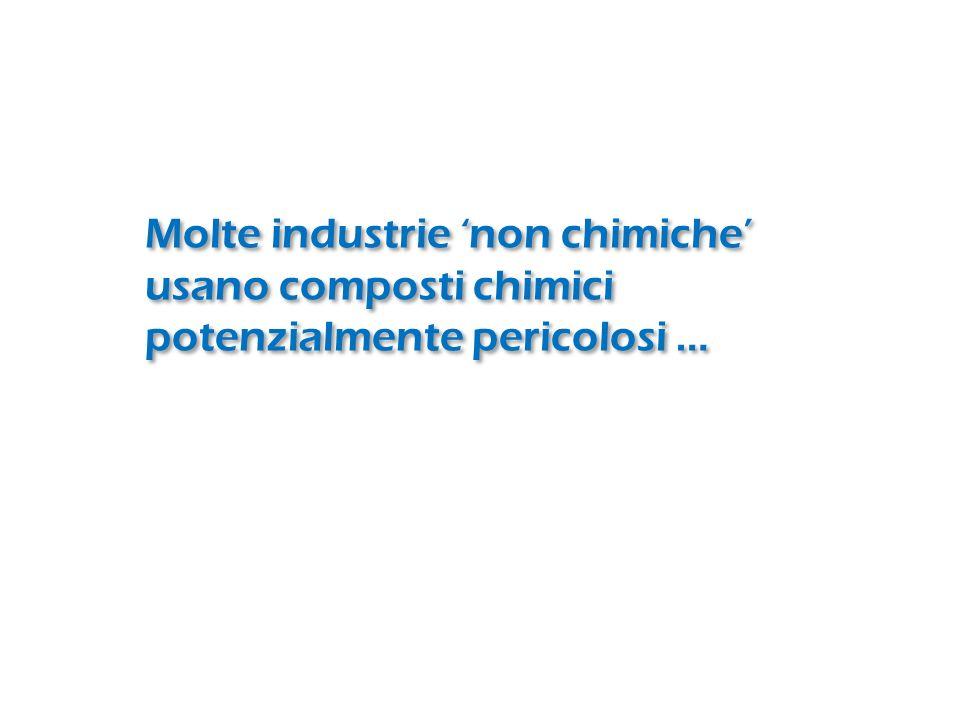 Molte industrie 'non chimiche' usano composti chimici potenzialmente pericolosi …