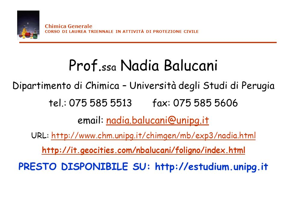 PRESTO DISPONIBILE SU: http://estudium.unipg.it