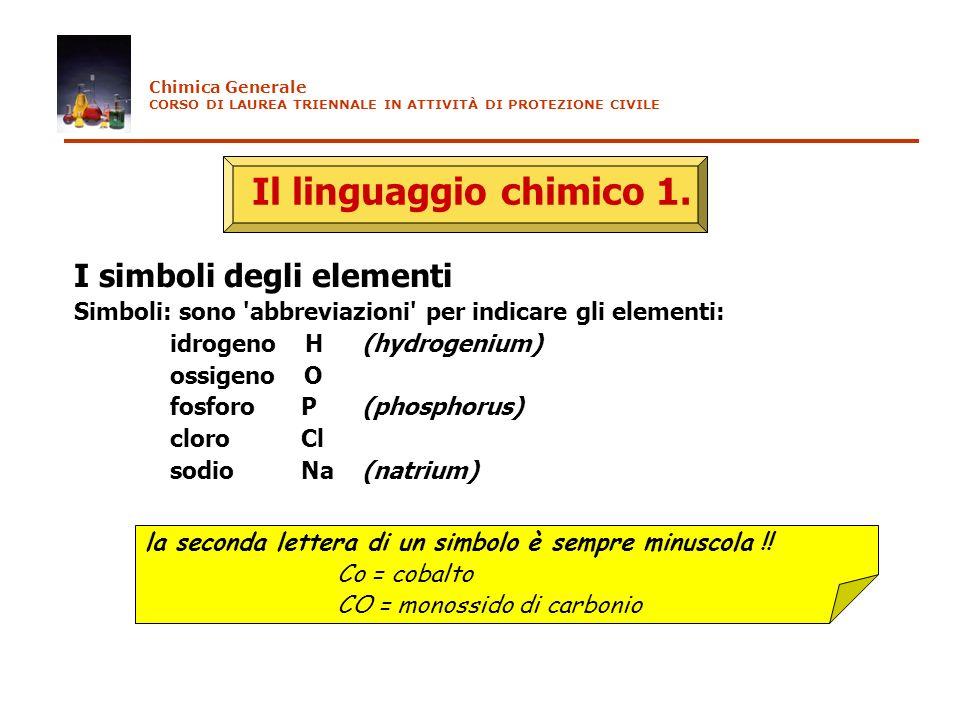 Il linguaggio chimico 1. I simboli degli elementi