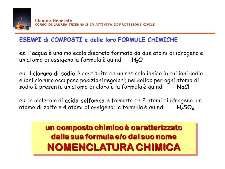 NOMENCLATURA CHIMICA un composto chimico è caratterizzato