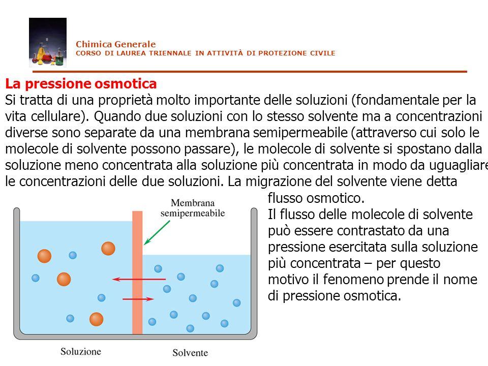 Chimica Generale CORSO DI LAUREA TRIENNALE IN ATTIVITÀ DI PROTEZIONE CIVILE. La pressione osmotica.