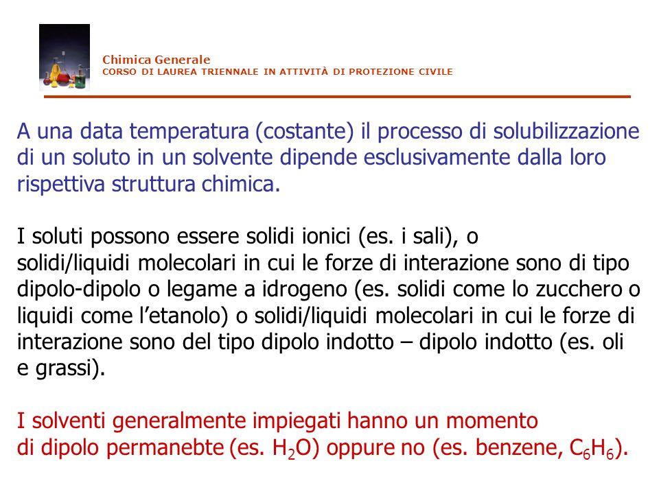 I soluti possono essere solidi ionici (es. i sali), o
