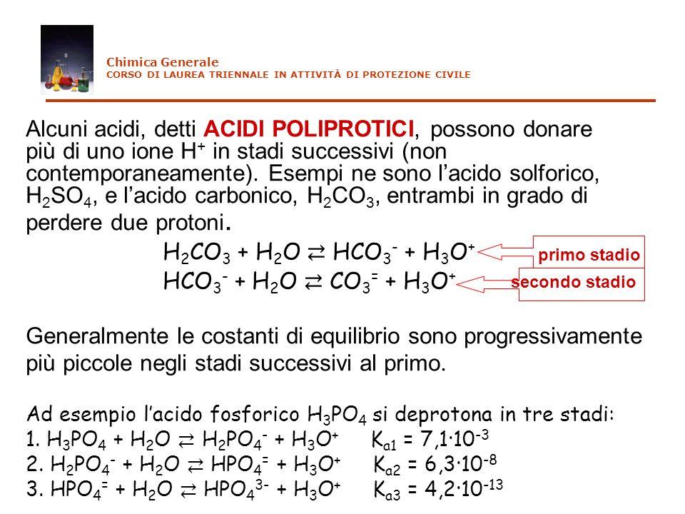Chimica Generale CORSO DI LAUREA TRIENNALE IN ATTIVITÀ DI PROTEZIONE CIVILE. Alcuni acidi, detti ACIDI POLIPROTICI, possono donare.
