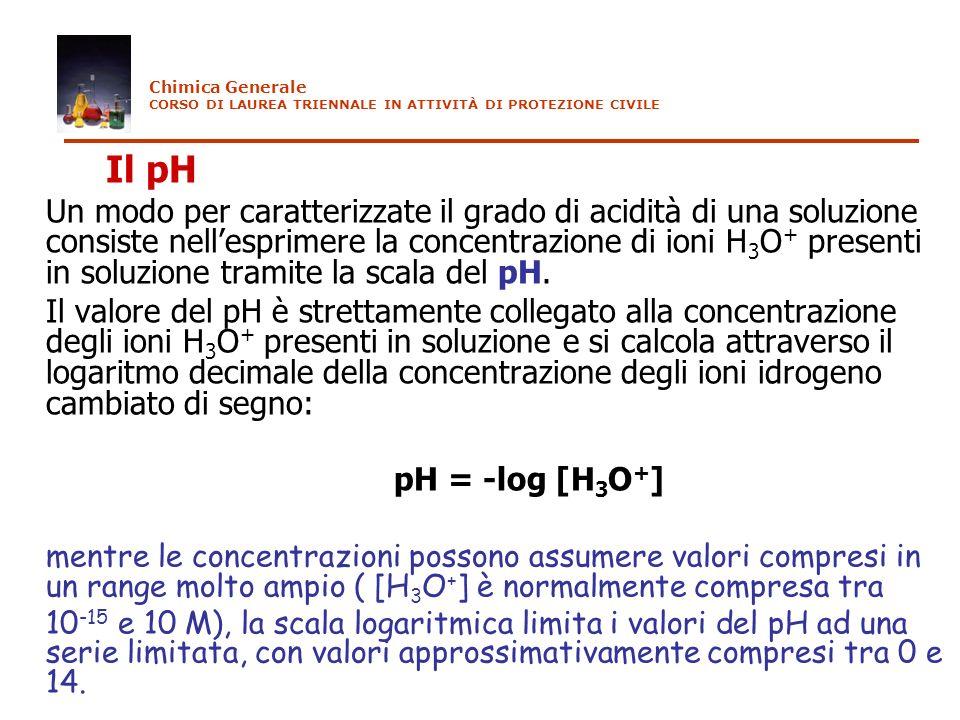 Chimica Generale CORSO DI LAUREA TRIENNALE IN ATTIVITÀ DI PROTEZIONE CIVILE. Il pH.