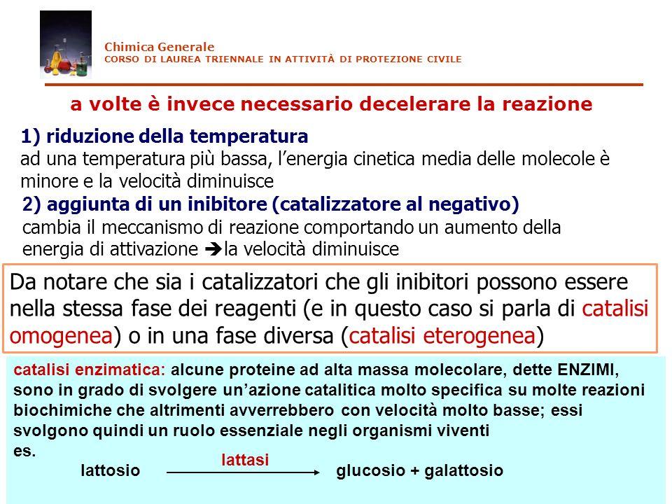Chimica Generale CORSO DI LAUREA TRIENNALE IN ATTIVITÀ DI PROTEZIONE CIVILE. a volte è invece necessario decelerare la reazione.