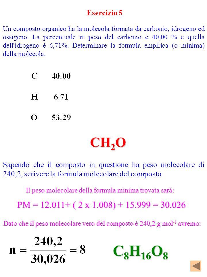 C8H16O8 CH2O PM = 12.011+ ( 2 x 1.008) + 15.999 = 30.026 Esercizio 5