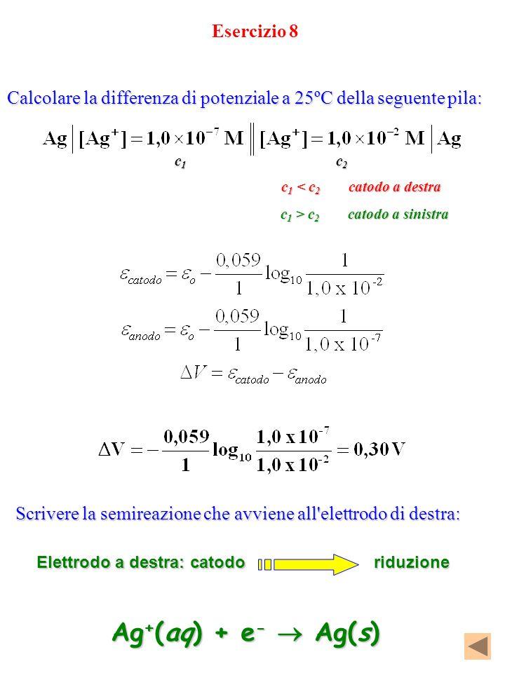 Ag+(aq) + e-  Ag(s) Esercizio 8