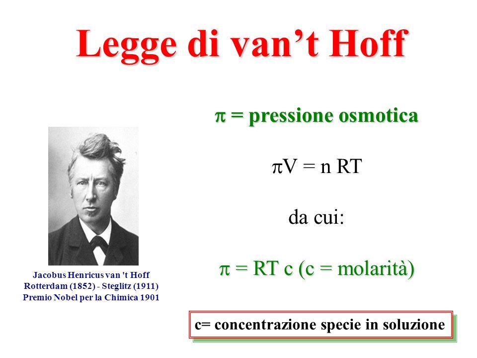 Legge di van't Hoff  = pressione osmotica V = n RT da cui:
