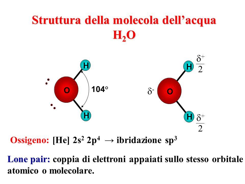 Struttura della molecola dell'acqua