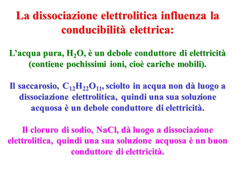 La dissociazione elettrolitica influenza la conducibilità elettrica: