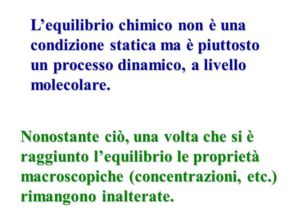 L'equilibrio chimico non è una condizione statica ma è piuttosto un processo dinamico, a livello molecolare.