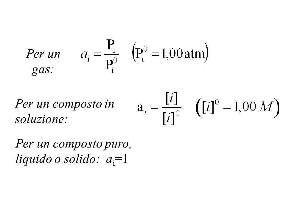 Per un gas: Per un composto in soluzione: Per un composto puro, liquido o solido: ai=1