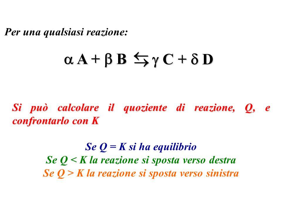   A +  B  C +  D  Per una qualsiasi reazione: